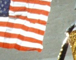 USA flag on Moon Showing Faded Cross
